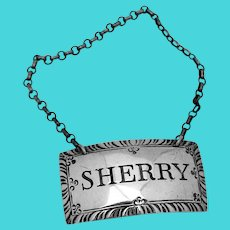Stieff Colonial Williamsburg Sherry Bottle Tag Label Sterling Silver