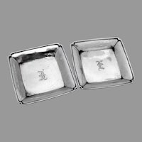 Square Pads Dishes Pair Ball Feet Chinese Export Silver Mono E