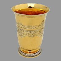 French Ornate Footed Beaker Gilt Sterling Silver Tetard Freres 1910
