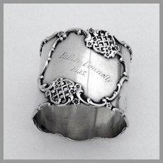 Ornate Napkin Ring Towle Sterling Silver 1905 Mono