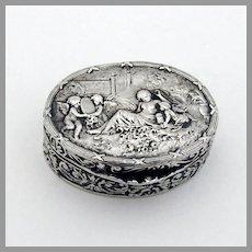 Small Oval Pill Box Cherub Scene 800 Silver Gilt Interior