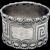 Greek Key Napkin Ring Beaded Pierced Border Coin Silver 1860 Mono CSC