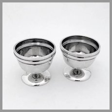 Footed Open Salt Dishes Pair Sterling Silver John Wendt 1860s