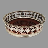 Silver Plated Openwork Wine Coaster Wooden Base