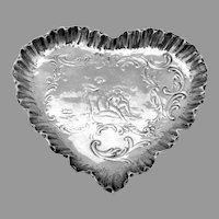 Small Heart Form Tray Figural Scenic Design 800 Silver