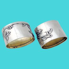 Art Nouveau Floral Oval Napkin Rings Pair Russian 84 Silver 1895