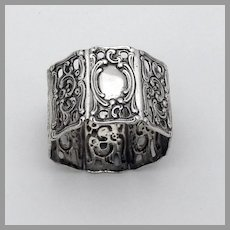 Small Ornate Napkin Ring Octagonal Form 800 Silver No Mono