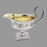 Antique Pedestal Gravy Boat Floral Design Swedish Silver 1784