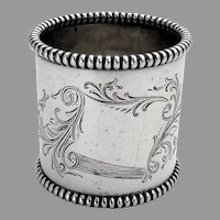 Large Beaded Engraved Napkin Ring Towle Sterling Silver 1900