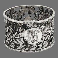 Openwork Chrysanthemum Napkin Ring Chinese Export Silver Mono M