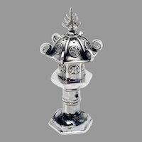 Japanese Lantern Form Salt Shaker Sterling Silver