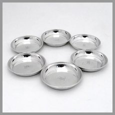 Round Butter Pads Nut Cups Set Sterling Silver California Mono H