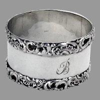 English Shell Scroll Napkin Ring Greenberg Sterling Silver 1907 Mono B