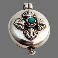 Round Hinged Pill Box Sterling Silver Turquoise Accent