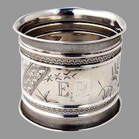 Aesthetic Napkin Ring Coin Silver 1875 Mono ER