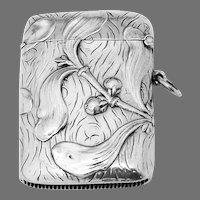 Jugendstil Match Safe Box German 800 Silver