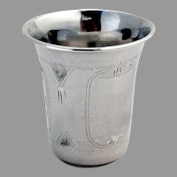 Russian Expatriate Engraved Vodka Cup 84 Silver Sterling Silver 1920