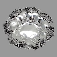 Openwork Poppy Border Serving Bowl Redlich Sterling Silver
