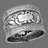 Ornate Napkin Ring Greek Key Borders Coin Silver 1870 Mono MLH