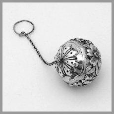 Floral Repousse Tea Ball Reed Barton Sterling Silver Mono CAB ABB