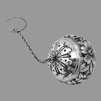 Floral Repousse Tea Ball Reed Barton Sterling Silver Mono CAB ABB