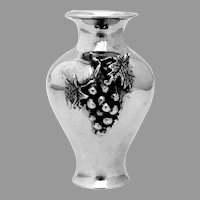 Small Vase Applied Cast Grape Bunch Sterling Silver