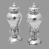 Ornate Salt Pepper Shakers Set Shiebler Sterling Silver Mono CM