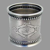 Large Engine Turned Napkin Ring Beaded Rims Coin Silver 1870 Mono ND