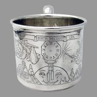 Birth Record Baby Childs Cup Webster Sterling Silver No Mono