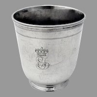 French Provincial Beaker First Standard Silver 1750 Mono EJ Crest