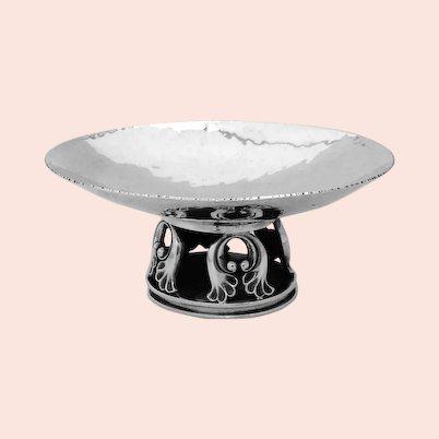 La Paglia Small Serving Dish Pedestal Foot Sterling Silver