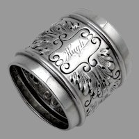 Repousse Acanthus Leaf Napkin Ring Sterling Silver 1900 Mono Hugh