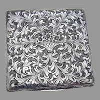 Engraved Square Compact Italian 800 Silver