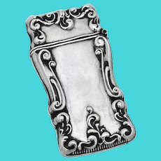 Repousse Scroll Match Safe Sterling Silver No Mono
