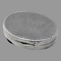 Engine Turned Oval Pill Box 800 Silver