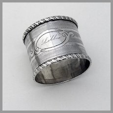 Engine Turned Napkin Ring Coin Silver 1880 Mono Libbie