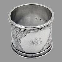 Aesthetic Engraved Napkin Ring Duhme Sterling Silver Mono HM