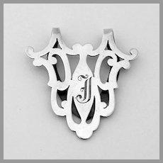 Cutwork Napkin Clip Gorham Sterling Silver Mono J
