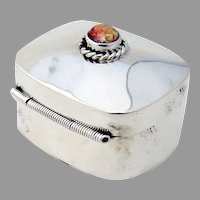 Pill Box Art Glass Finial Sterling Silver Mexico