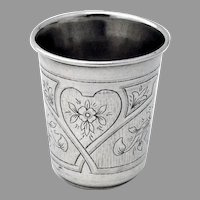 Engraved Floral  Vodka Shot Russian 84 Silver 1872 Moscow