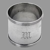 Banded Border Napkin Ring International Sterling Silver Mono M