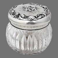 Loves Dream Cut Crystal Dresser Jar Unger Brothers Sterling Silver
