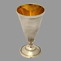 Soviet Russian Footed Vodka Shot Cup 875 Silver Gilt Interior