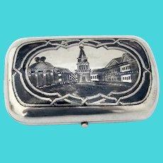 Russian Architectural Niello Tobacco Box 84 Standard Silver 1874 Mono MS