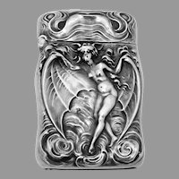 Art Nouveau Winged Bat Woman Match Safe Unger Sterling Silver