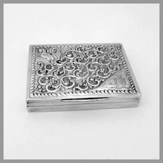 Ornate Hand Chased Box 800 Silver Cyrillic Letter Monogram
