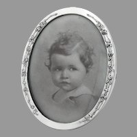 Oval Form Picture Frame Rose Pattern Webster Sterling Silver