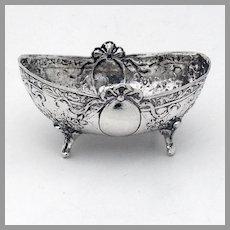 Ornate Footed Oval Form Open Salt Dish Hanau 800 Silver