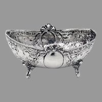 Ornate Footed Oval Form Open Salt Dish Hanau 800 Silver