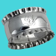 English Oval Napkin Ring Pie Crust Border Sterling Silver 1891 Mono JS